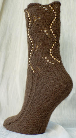 Buffalo Beaded Socks - view from the left