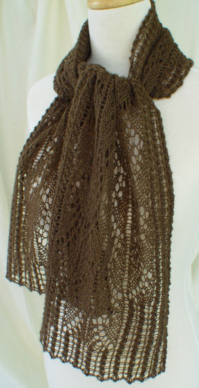 Pillared Archways Lace Scarf in Buffalo Gold #11 Laceweight pure bison yarn