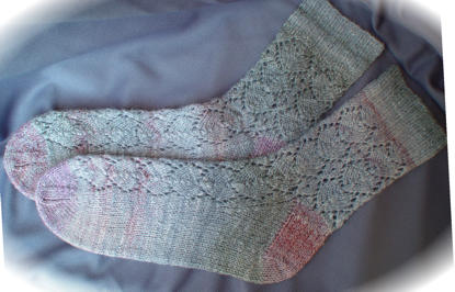 Heart Socks in handspun silk/wool yarn