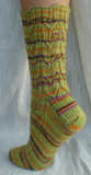 back view of Country Girl Socks in Lion Brand Sock-Ease color Sour Ball