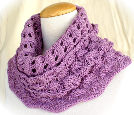 Lace Puffs Smoke Ring worn as a cowl