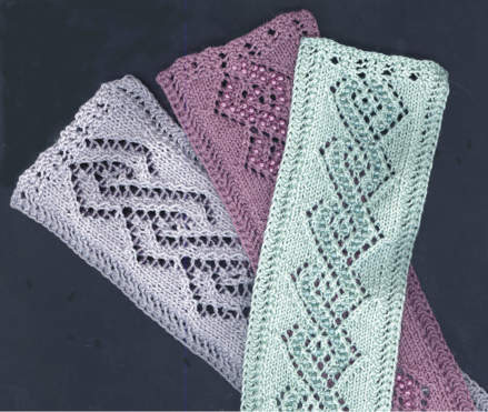 Beaded Lace Cable Bookmarks and Bracelets
