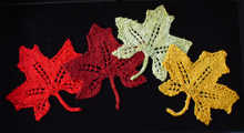 maple leaves knitted from HeartStrings Playing in the Leaves pattern