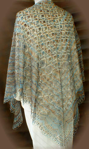 Bobble Lace Flowers Triangle Shawl
