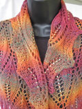 Flames of Fall Beaded Lace Scarf
