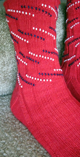 Patriotic Bead Striped Socks