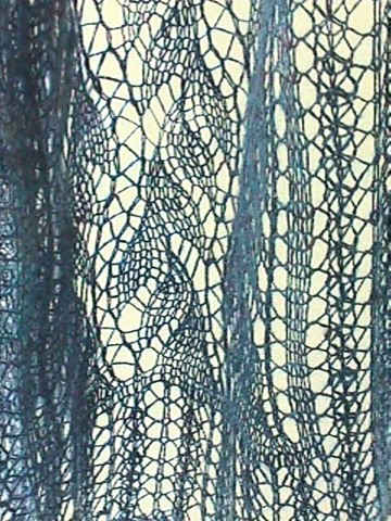 detail of Lead or Follow Lace Scarf knitted in handspun silk