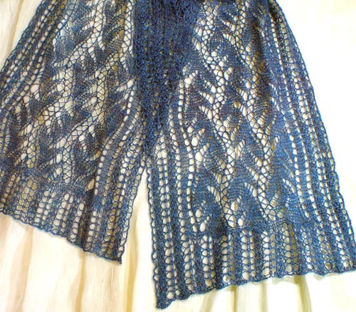 Lead or Follow knitted lace scarf in handspun silk
