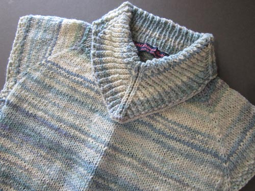 V-Collar Dickey in variegated yarn handspun from dyed Merino wool roving