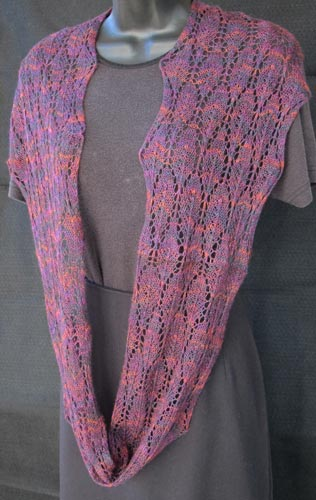 Winter Lace Loop worn as a single long infinity scarf