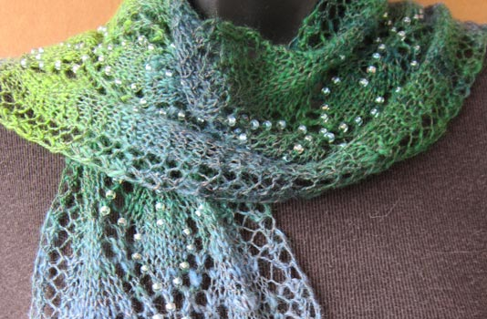Free Knitting Patterns For Scarves With Beads : Spring Raindrops Lace Leaves Scarf beaded knitting pattern
