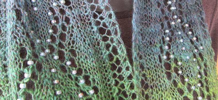 Spring Raindrops beaded lace scarf in handspun yarn