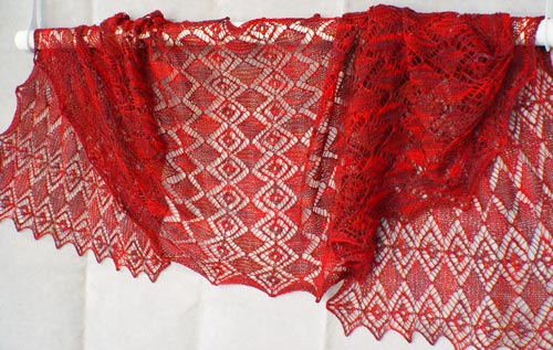 Faceted Gems knitted lace stole