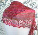 Shallow Tri Shawl worn upside-down - back view