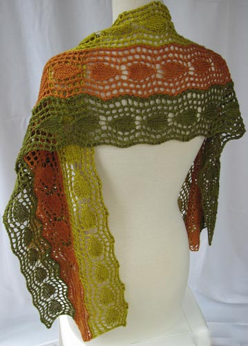 Back view of Bi-directional Lace Strips Stole