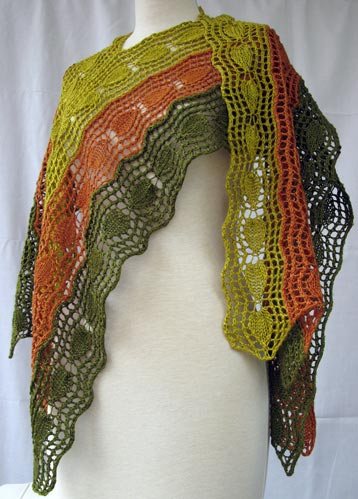 Bi-directional Lace Strips Stole showcases Himalaya Duke Silk yarn in 3 colors