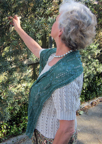 Dragonfly Dreams beaded lace scarf