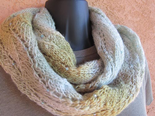 Misty Soft Infinity Tube Scarf worn as a cowl