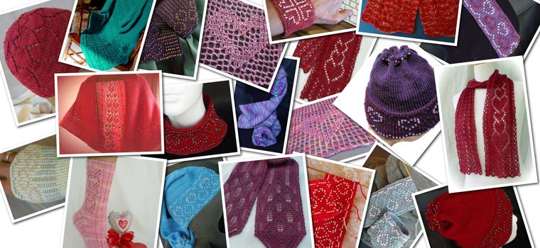 a collage of heart-themed heartstrings patterns