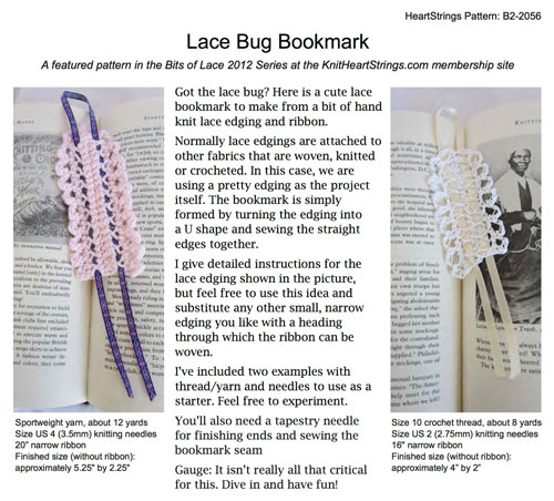 Lace Bug Bookmark pattern data sheet