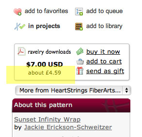 Ravelry currency conversion for Paypal payments
