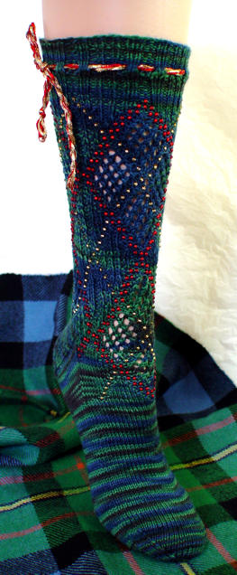 Beaded Faux Argyle Socks