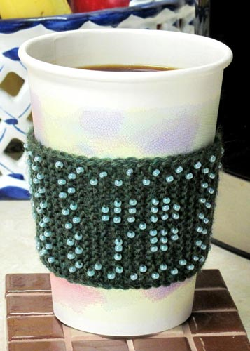 Irish Coffee Cozy cup sleeve beaded knit pattern