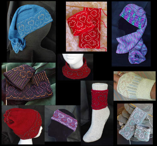 Topsy Turvy Beaded Hearts is a bonanza of 10 projects in heart-themed bead knitting designs. 4 designs for Wristlets in fingering weight yarn. 3 designs for Hats, Headband, Stand-alone Collar and Sock-Not Cuffs in sport weight or DK weight yarns