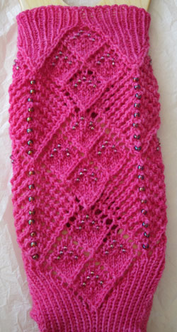 Two Ways About It Beaded Socks - front of sock and instep transition