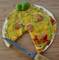 Halloween tortilla pizza