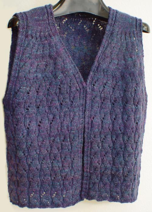 Sweet Melody Vest knitted in handspun Merino wool yarn