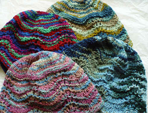 Scalloped Juliet Cap in variegated colors of cotton chenille yarn