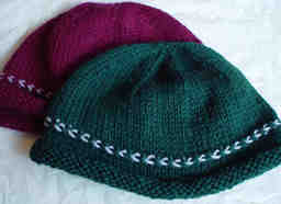 2 Norwegian Braid Hats in burgundy and hunter green