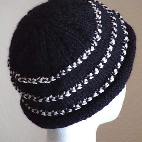 Luxe Hat in black luxury alpaca blend and natural reeled bombyx silk