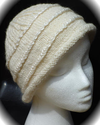 Luxe Hat in white luxury alpaca blend and natural reeled bombyx silk