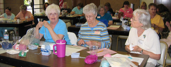 Beaded Knitting class at the Valley Needlers Guild in CA