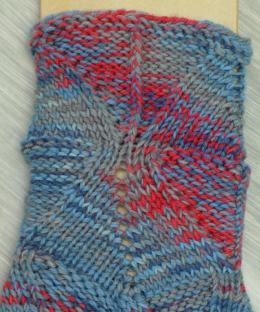 Shapely Sandal Socks knitted in Lorna's Laces #46 Jeans and #501 Argyle