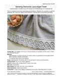 Sample cover page of HeartStrings Spiraling Diamonds Lace-edged Towel pattern