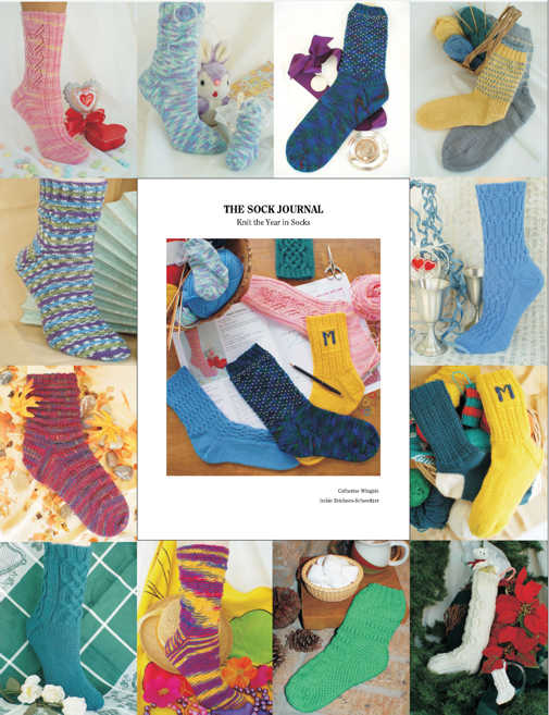 The Sock Journal cover and pictures of the 12 month by month sock designs included