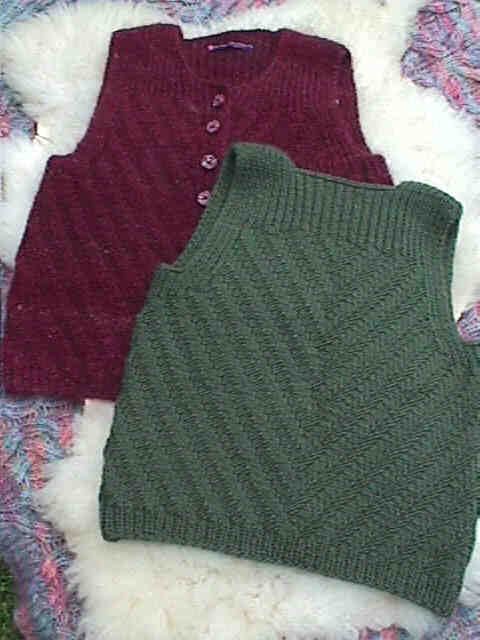 Back view of green Chevrons and Ribs. Note: the maroon vest model shown in the picture was made in handspun wool/mohair.