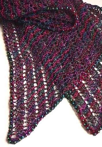 Knitting On The Bias Shawl Pattern : Beaded bias lace scarf a towards