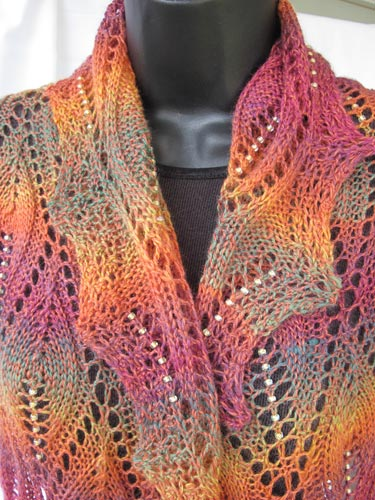 Flames Of Fall Stole Beaded Lace Knitting Pattern
