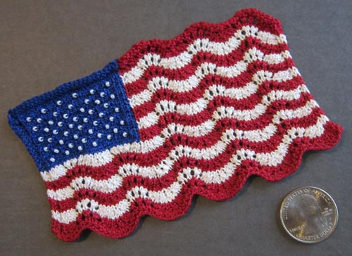 American Flag Heartstrings Mini Lace And Beaded Flag Pattern